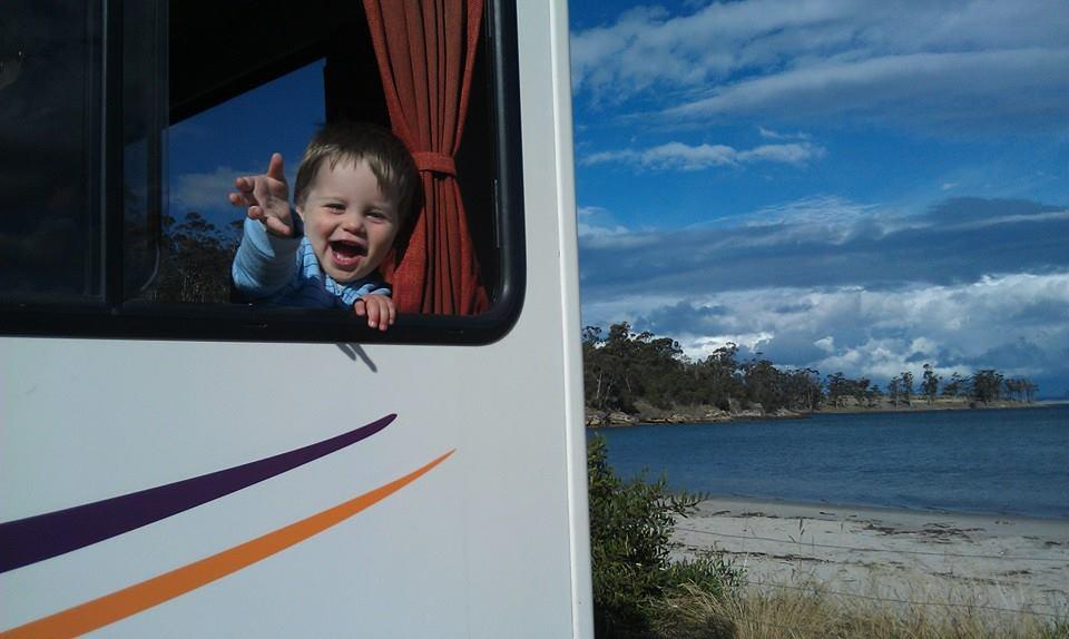 Happy Kid in a Motorhome